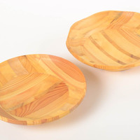 Handmade wooden plate design plate set 2 pieces wood craft kitchen supplies