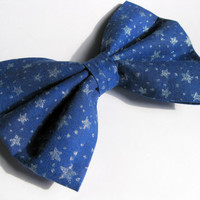 Girls fabric bow - Navy blue bow - silver star hair clip - womens hair accessories - astronomy Rockabilly hair clips - Classic tuxedo bow