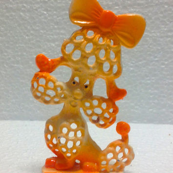 Vintage 1960s Revere Retro Poodle Earring Holder in Rare Orange