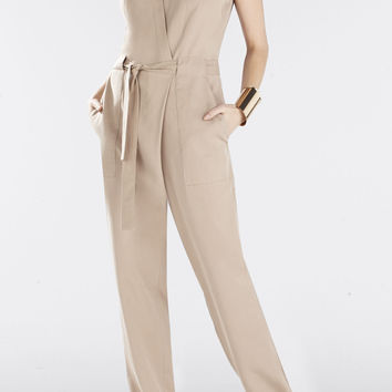 BCBG Ridley Safari Wrap Jumpsuit - Brown/Tan