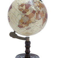 Harvey & Haley Wood Globe with Sturdy Base and Sea Routes