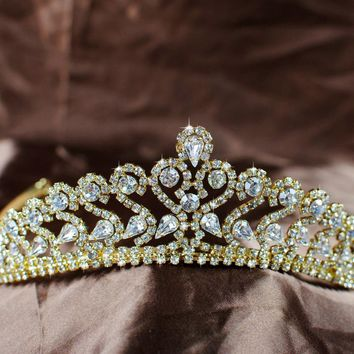 Glorious Wedding Bridal Tiaras Clear Rhinestones Crystal Crowns Gold Headband Headpiece Pageant Party Prom