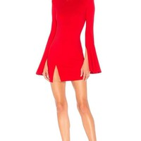 Red Split Sleeve Bandage Mini Dress