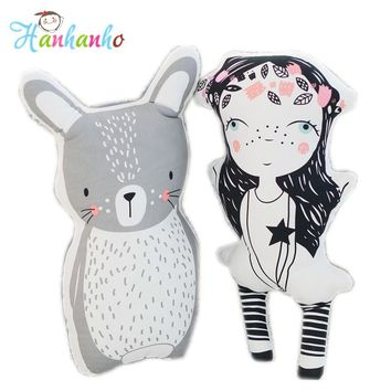 INS Hot Girl Doll&Rabbit Cartoon Cushion Baby Cotton Pillow High Quality Kids Toy Children Bedroom Decor