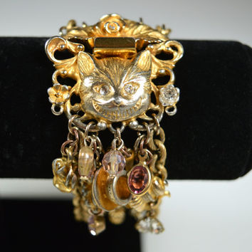 Vintage Kirks Folly Cat Bracelet Alice in Wonderland Cat Tea Party Charms Multi-Strand Bracelet RARE Cat Figural Bracelet Figural Jewelry