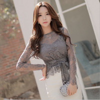 Ladies plus size chiffon blouses tops 2016 Autumn Fashion Lace Hollow out Primer shirt Skinny office Sexy shirts blusas Women