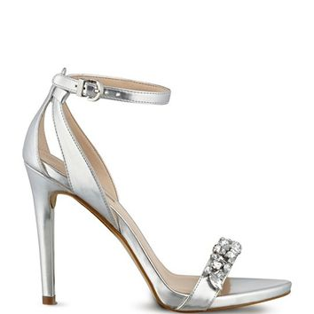 Catarina Metallic Jeweled Heels | GUESS.com
