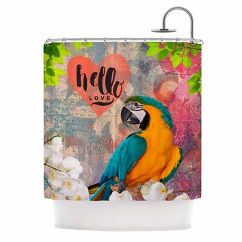 "AlyZen Moonshadow ""Hello Love Parrot"" Multicolor Teal Digital Shower Curtain"