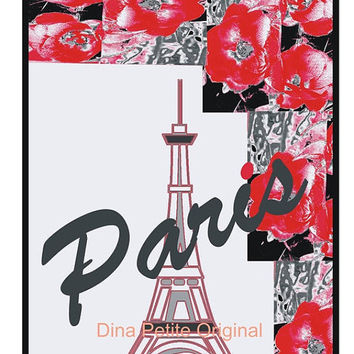 Paris Digital Download / Instant Wall Art / Poster Art Decor / City Landmarks / French Graphic / Commercial Use / Digital Art / Eiffel Tower