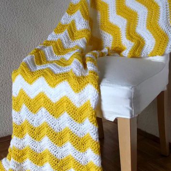 Crochet Blanket Afghan Modern Throw- Chevron Bright Neon Yellow and White Striped Ripple