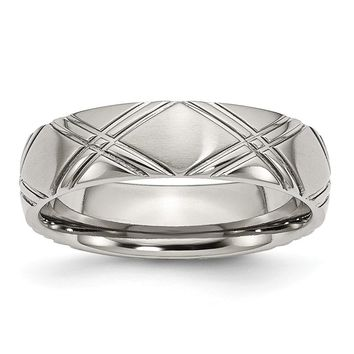 Stainless Steel Criss-cross Design 6mm Brushed and Polished Band Ring 6 to 13 Size