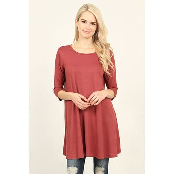 3/4 Sleeve Solid Tunic Top