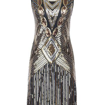 Women's 1920s Gatsby Sequin Art Deco Scalloped Hem Inspired Flapper Dress