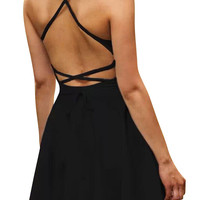 Strappy Backless Mini Skater Dress