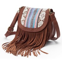 Mudd Vicky Fringed Crossbody Bag (Brown)