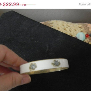 store wide sale vintage bangle bracelet enamel ware covered in blue roses