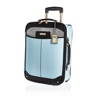 River Island Womens Blue split design wheelie suitcase