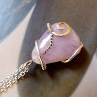 Kunzite pendant, mealwork silver necklace, handmade statement necklace, OOAK jewelry