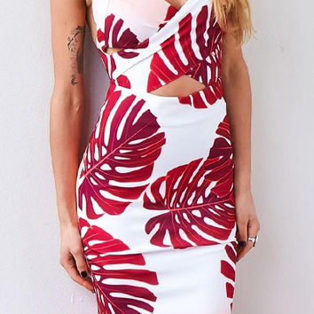 Red V-Neck Tank Dress with Leaf Print