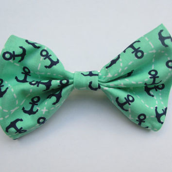 Nautical Preppy Green and White with Blue Anchors Hair Bow