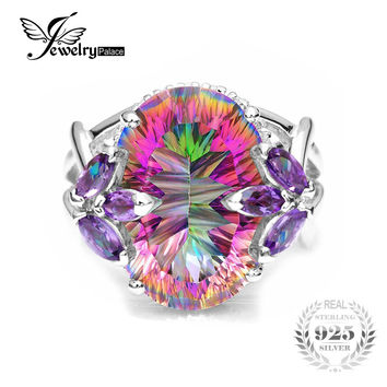 12ct Natural Amethyst Rainbow Fire Mystic Topaz Solid 925 Sterling Silver Ring Cocktail Vintage Jewelry Promotion Brand 2016 New