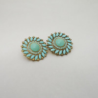 Vintage Faux Turquoise Earrings, Vintage Chunky Turquoise Earrings, Vintage Jewellery