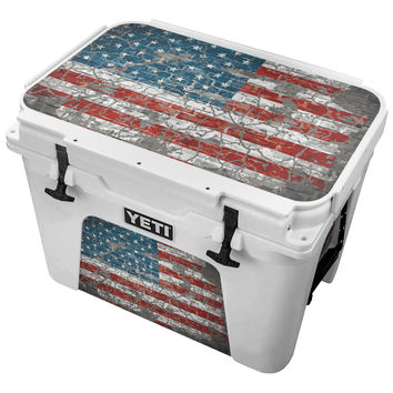 Vintage American Flag on a Brick Wall Skin for the Yeti Tundra Cooler