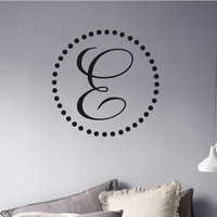 Vinyl Wall Decal- Monogram Polka Dot Initial Vinyl Wall Decal Decor