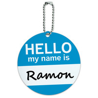 Ramon Hello My Name Is Round ID Card Luggage Tag