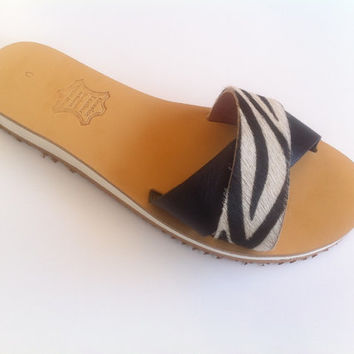 leather sandals , sandals , with zebra skin strapped and black genuine leather, sandals , womens shoes , mommy and me sandals,greek sandals
