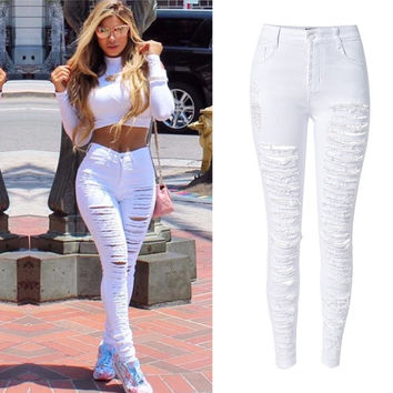 Olrain  Sexy Womens High Waist Skinny Ripped Boyfriend Casual Slim Fit Cool Hole Denim Cotton Jeans Stretchy Denim Pencil Pants