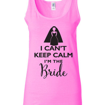 Set of 4 Keep Calm Wedding Party Tank or T-shirt Bride Bridesmaid Maid of Honor Flower Girl Mother