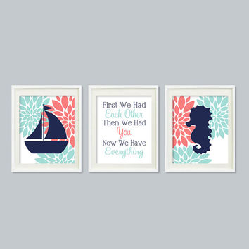 Nautical Decor Nursery Art Floral Coral Navy Wall Art Seahorse Sailboat Quote Set of 3 Prints Baby Girl Nursery Bedroom Decor Sea Life Beach