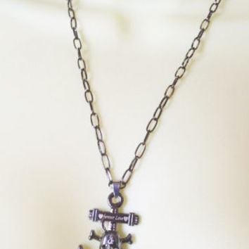 unisex SKULL ANCHOR NECKLACE black chain GOTH day of dead metal love pirate new