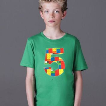 5 green Building brick shirt, five construction blocks birthday outfit, 1 2 3 4 5 Birthday Shirt, 5th primary color blue red yellow plastic