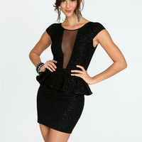 Textured Sparkling Peplum Dress | Shop New Arrivals at Arden B