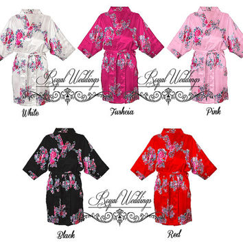 5 or 6 robes New Floral  Satin Robes, Bridal Party Gift, Bridesmaid Wedding Gifts, White, Red, Fuchsia, Pink, Black Gowns