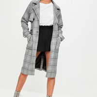Missguided - Grey Prince of Wales Checked Mac