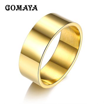 GOMAYA Steel Ring Gold Rose Gold Silver Black Color Simple Wedding Band Couples Rings Bijouterie for Man Woman Gift High Polish