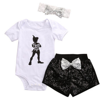 3Pcs Cotton Baby Girls Clothes Romper Tops Sequin Shorts Bow 3pcs Cute Clothing Black Outfits Set Baby Girl