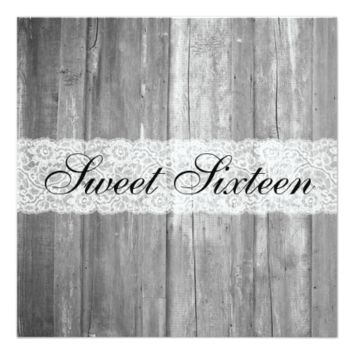 Shabby Chic Country Gray Wood Sweet Sixteen 5.25x5.25 Square Paper Invitation Card