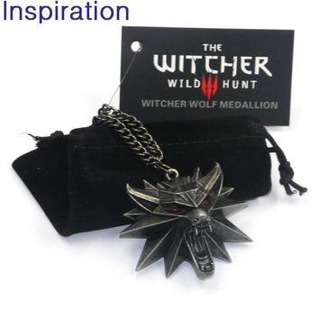 Vintage The Witcher 3 Medallion Wild Hunt Wolf Pendant Necklace Figure Witcher 3 Game Wolf Head Necklace Charms for Men Jewelry