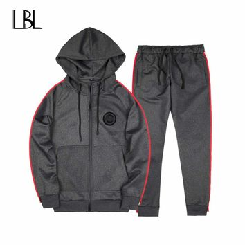 Two Piece Set Tracksuit Men Spring Autumn Men Sporting Suit Polo Hoodies+Pant Sweatsuit Men Joggers Set Moleton Masculino 2018