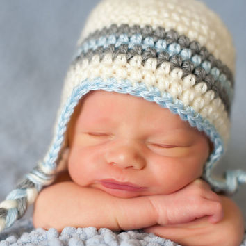 Crochet Baby Hat, Boy Ear Flap Hat, Off-White, Gray and Blue, Ready to Ship, 1-3 Months