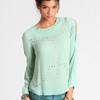 Star-Studded Chiffon Blouse - $34.00 : ThreadSence, Women's Indie & Bohemian Clothing, Dresses, & Accessories