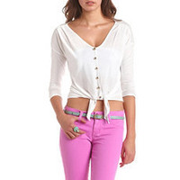 Tie-Front Gold Button Top: Charlotte Russe