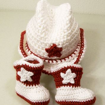 Baby Cowboy Hat and Boots--Crochet in white and red--Baby shower gift-PLEASE STATE SIZE