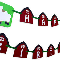 Farm themed Birthday Banner