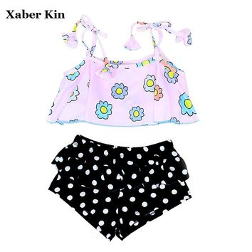 2018 Girls Floral Swimming Suits Children Bathing Suits Girls Swimsuit Lovely Girls Swimwear Girls Biquini Suits G42-K493