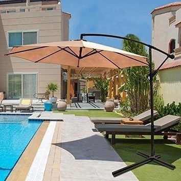 Aluminum Patio Umbrella Garden Cantilever Umbrella UV Protection Water-resistant